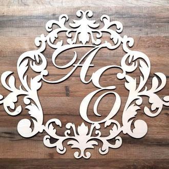 Фамильный Герб 60х50см Свадебные Инициалы из дерева, деревянная монограмма, семейный герб на свадьбу