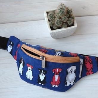 Сумка-бананка с собаками, поясная сумка 54//Сумка-бананка з собаками, поясна сумка 54