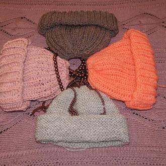 Объемные вязаные шапки из толстой пряжи