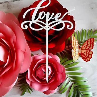 """Топпер в торт свадебный""""Love"""""""