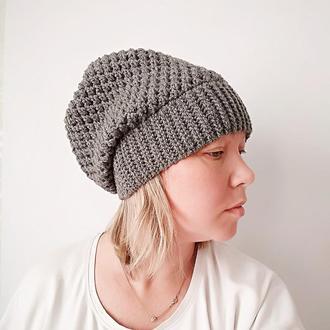 Вязаная шапка Для осени (антрацит)