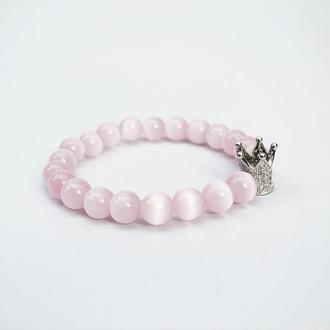 Розовый браслет  из  кошачьего глаза с бусиной-короной (модель № 528) JK jewelry