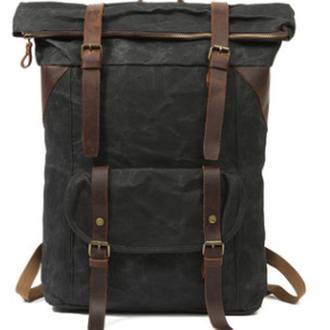 Большой рюкзак из вощенной канвы и натурльаной кожи - Вайчак. Водонепроницаемый