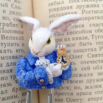 Закладка для книги или блокнота Кролик. Пора пить чай. Алиса в стране чудес