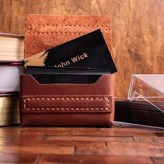 Визитница на 40-50 визиток из натуральной кожи