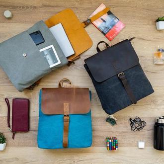 Городской классический женский рюкзак из натуральной кожи и канвы. Водоотталкивающий
