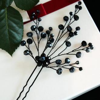 Черная шпилька для волос, украшение на выпускной, украшения для выпускницы