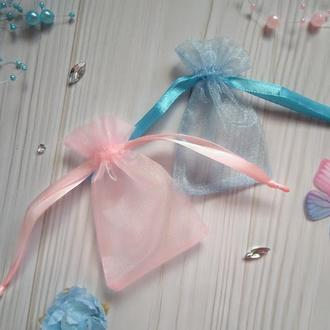 Пара подарочных мешочков из органзы 6 х 8 см(Мешочек для упаковки подарка, подарочная упаковка)
