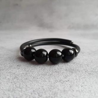 Браслет с черным агатом. Женский браслет. Подарок девушке.