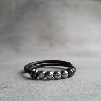 Браслет с гематитом. Браслет с натуральными камнями. Женский браслет. Мужской браслет. Подарок.