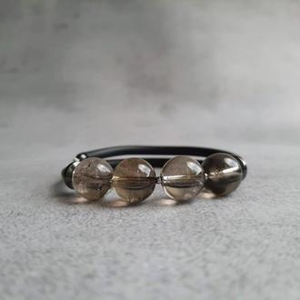 Браслет с раухтопазом или дымчатым кварцем. Женский браслет. Браслет из натуральных камней.