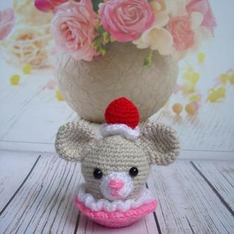 🍓 Мышонок в корзинке. Миниатюрная мышь, мышка-ягодка.
