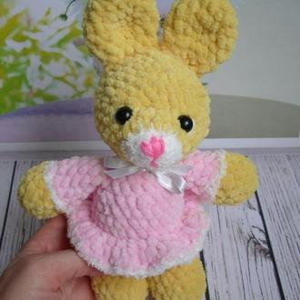 🍓 Зайчик плюшевый. Зефирный зайка. Вязаная игрушка заяц.