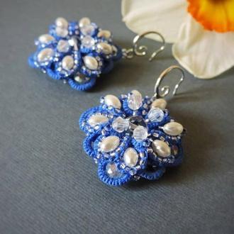 Дизайнерские кружевные серьги с жемчугом , Синие серьги