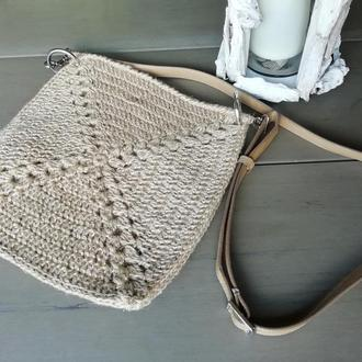 Вязаная сумка-планшет из джута