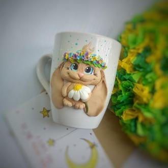 Чашка с декором Зайка c веночком