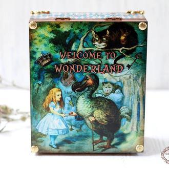 """Шкатулка """"Алиса в Стране Чудес"""" ,Додо,Чеширский кот и Алиса, Чайная шкатулка на 4 ячейки"""