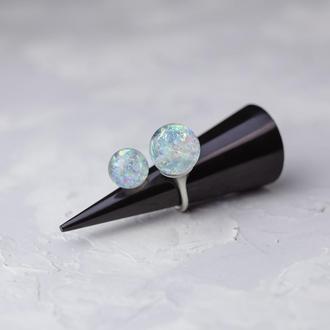 Шикарное двойное кольцо из эпоксидной смолы с голографическим (перламутровым) эффектом