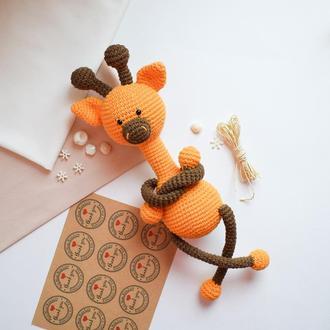 Вязаный жираф. Мягкая игрушка. Подарок новорожденному. Интерьерная игрушка. Игрушка
