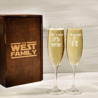 Бокалы для шампанского с лазерной гравировкой «Звездные войны» для пары