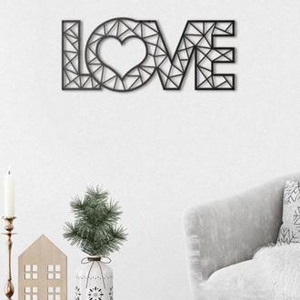 Декоративне панно з дерева LOVE, настінний декор