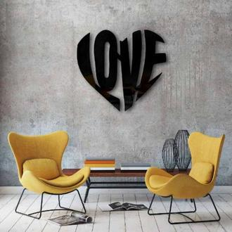 Декоративное панно из дерева LOVE, настенный декор