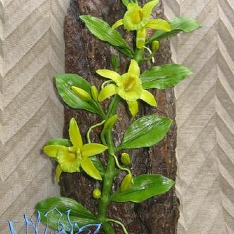 Панно с ванильной орхидеей, ручная работа, лепка, полимерная глина (холодный фарфор)
