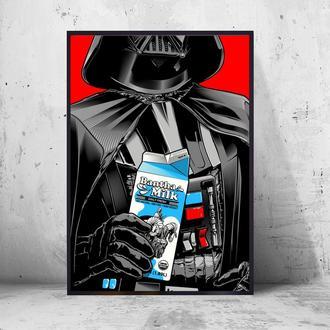 "Постер на ПВХ 3 мм. в рамке ""Star Wars Darth Vader: Milk"" (Дарт Вейдер: Молоко)"