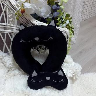 Комплект Подушка на шею и маска для сна Черная кошка