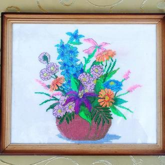 """Картина """"Полевые цветы"""",вышивка нитками"""