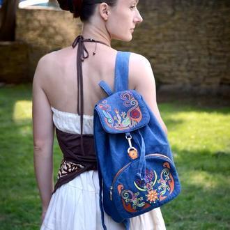 """Джинсовый рюкзак с вышивкой """"Ящерицы"""" Дизайнерский рюкзак Городской рюкзак Синий рюкзак вышитый"""