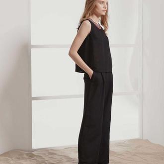 Черные длинные брюки из льна