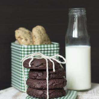 Шоколадное Печенье с Шоколадной Крошкой и Солёной Карамелью/Double Choc Cookies with Salted Caramel