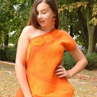 Блуза оранжевая валяная