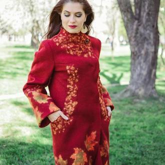Пальто бордовое весна-осень , пальто шерстяное