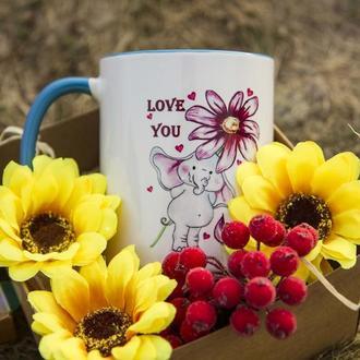 """Чашка з  ілюстрацією """"Слоненятко кохає тебе!"""""""
