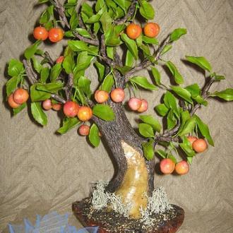 Черешня. Дерево-бонсай, ручная работа, лепка, холодный фарфор