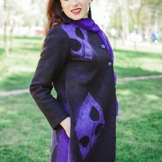 Пальто чёрное войлочное