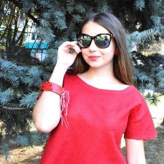 Блуза войлочная красная