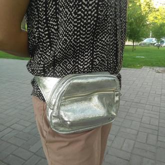 женская сумка из натуральной кожи на пояс через плечо