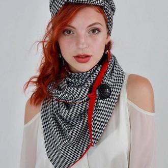 Трикотажный шарф, платок, шарф-колье, шарф-чокер, шейный платок