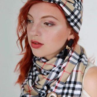 Тюрбан-обруч осенний в стиле Барбери, повязка обруч, повязка на голову