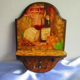 Панно- ключница с полочкой ′Винный погребок′, вешалка для полотенец