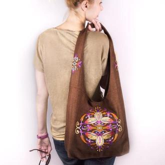 Сумка для йоги с вышивкой. Женская сумка вышитая. Эргономичная тканевая вышитая сумка для покупок
