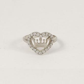 кольцо корона с сердцем