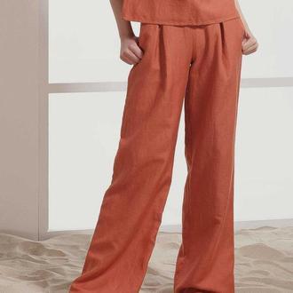 Длинные брюки терракотового цвета