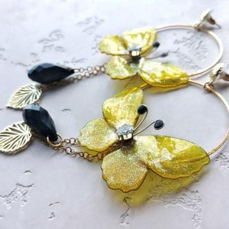 Серьги Люстры. Солнечные яркие желтые бабочки