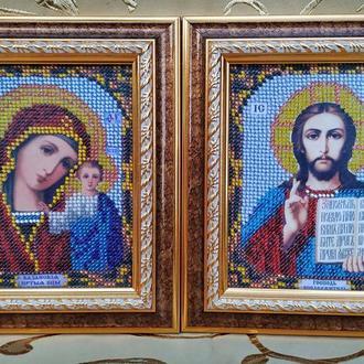 Иконы Казанска Божья Матерь и Христос Спаситель, вышивка чешским бисером