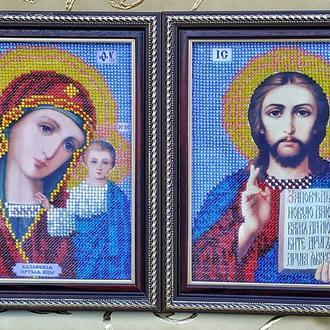 Иконы Казанска Божья Матерь и Христос Спаситель, вышитые чешским бисером