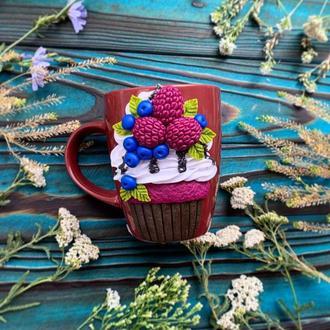 Вкусная чашка, кружка с кексом, чашка с декором, кружка с лепкой, чашка из полимерной глины, кружка